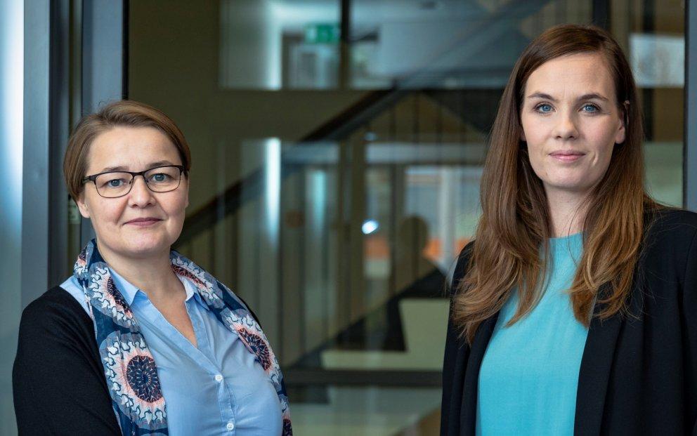 Sonja Ýr Þorbergsdóttir, formaður BSRB (t.h.), og Drífa Snædal, forseti ASÍ.