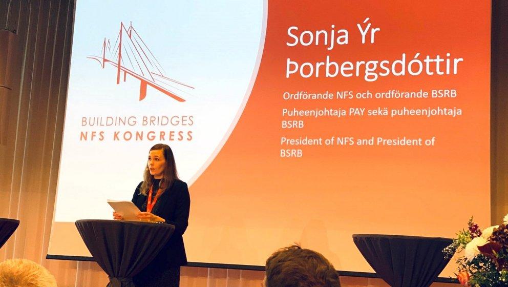 Sonja Ýr Þorbergsdóttir, formaður BSRB og stjórnarformaður NFS, setti þing NFS í Malmö í gær.